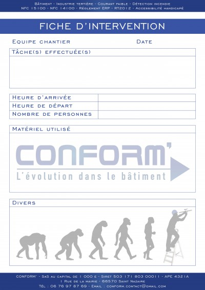 Papier carbone - fiche intervention